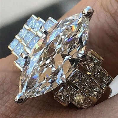 ZHOUYANG Rings For Women Luxury Style Horse Eye Shaped Cubic Zirconia Silver Color Creative Engagement Fashion Jewelry KCR214