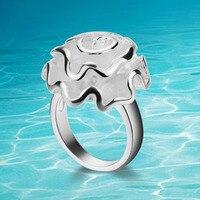Genuine sólido 925 sterling silver anéis. Rosa anel de flor menina favorito. Moda jóias anéis. Anel de dedo indicador cauda para se referir