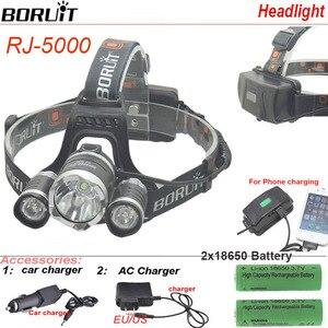 Image 5 - Boruit RJ5000 USB LED פנס עמיד למים פנס 3Led 8000LM נטענת 18650 ראש מנורת אורות סוללה מטען