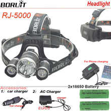 Boruit RJ5000 USB LED Headlight waterproof headlamp 3Led 8000LM Rechargeable 18650 head lamp lights Battery Charger