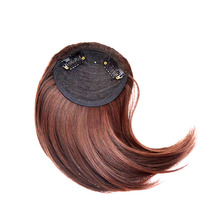 jeedou Synthetic Hair Fake Bangs Clip In Women's Hair Extension Oblique Fringe Mix Brown Blond False Straight Hair Bang