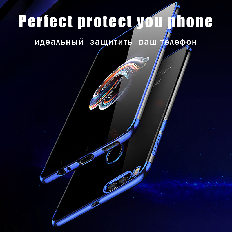 Luxury Soft Silicone Plating Edge TPU Phone Case For Xiaomi Mi A1 mi a1 Transparent Back Cover For Xiaomi Mi 5X mi5x Cases Coque in Fitted Cases from Cellphones Telecommunications