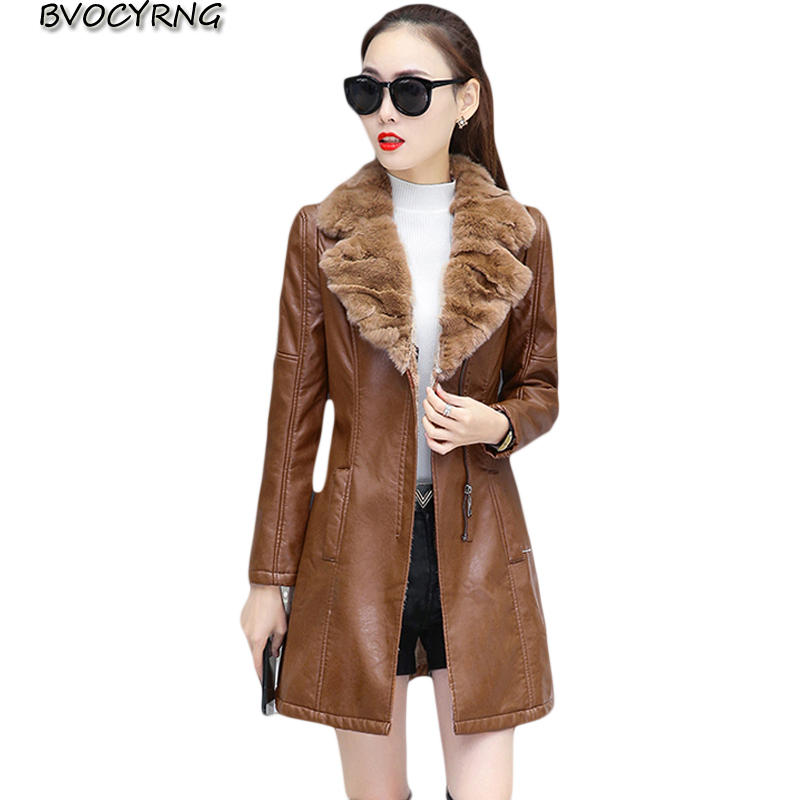 Plus Size Long Fur collar Leather Coat thick 2018 New Autumn winter Warm Jacket Women PU Leather Coat Slim Waist Female Overcoat winter long new knee length women jacket longthen slim was thin coat big fur collar plus size thick parkas warm outwear mz847