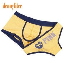 DENNYLITER Couple Underwear Yellow Cotton Cartoon Underpants Sexy Lover Panties Knickers Underwear Men Boxer Women Pants Cuecas