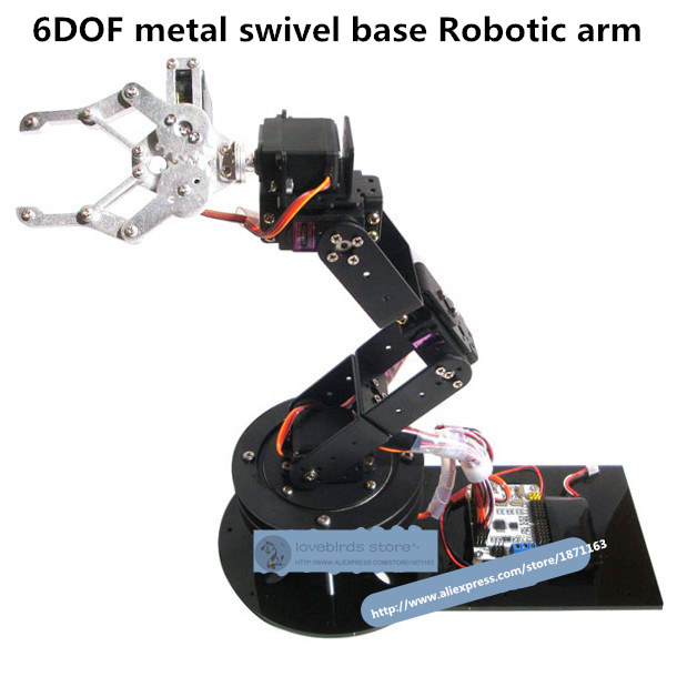 6 DOF Aluminum swivel base robotic arm teaching robot arm 32 channel control board LD-1501MG LDX-335MG Digital servos 3 dof metal robotic claw gripper robot mechanical claw compatible with ld 1501mg digital servo ldx 335 single axis digital servo