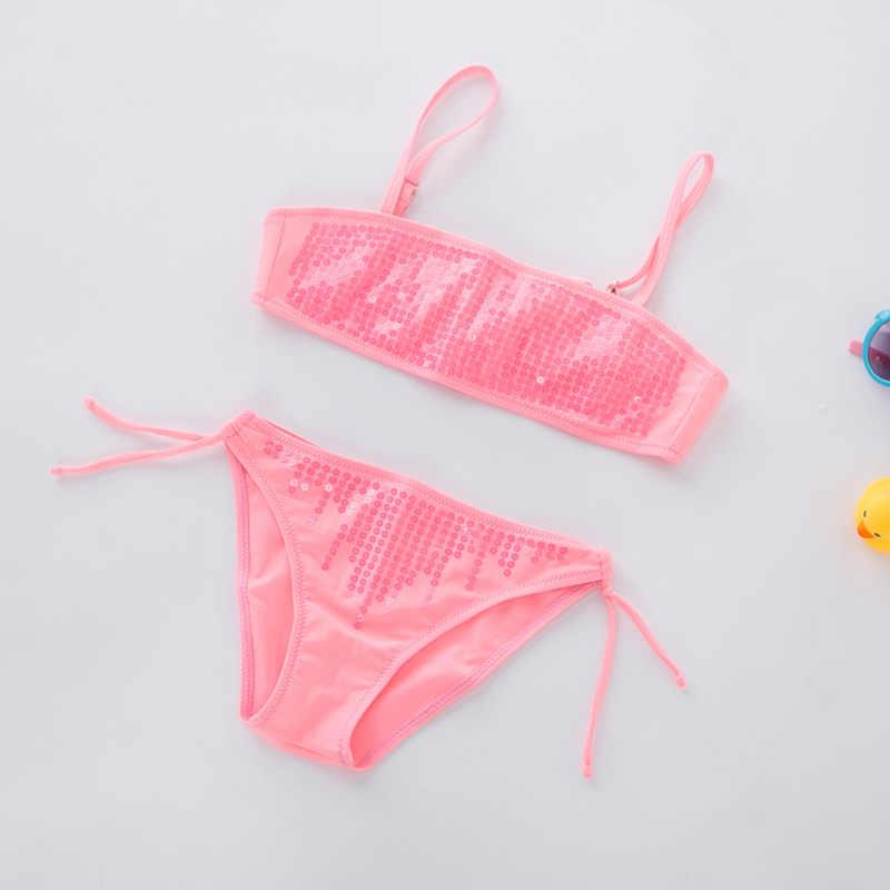 1fdb95a905 Baby Girl Bikini 2019 Kids Swimming Suit for Girls Bling Bathing Suit  Children Two Pieces Swimwear Infant Toddler Girl Beachwear