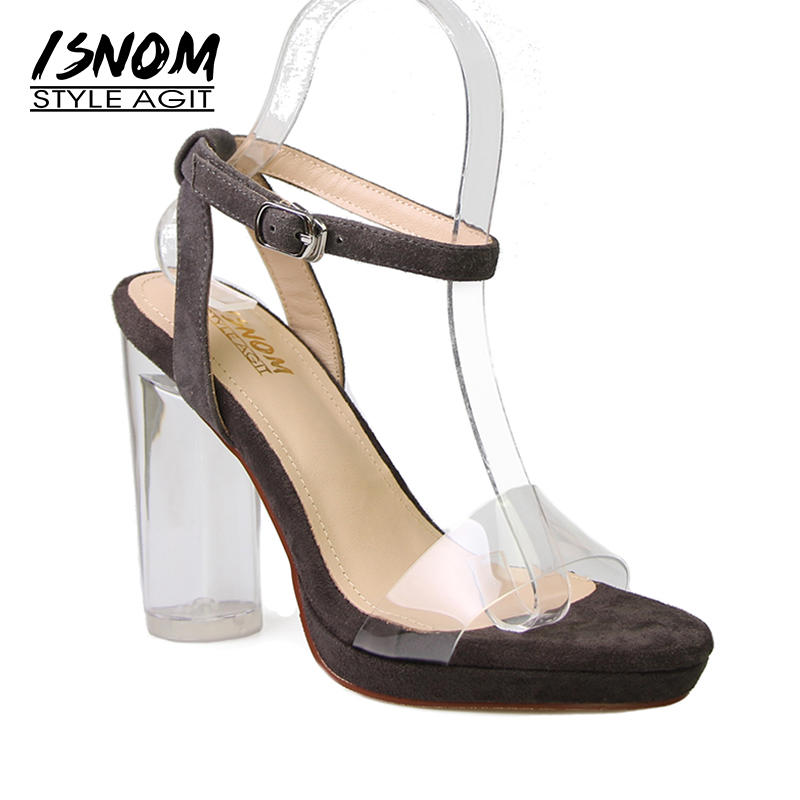 Brand Design Transparent Sandals Summer New Arrival Crystal Super High Thick Heel Women Shoes Open Toe Ladies Sandals Female most popular women summer mid calf boots high heel sandals open toe cutouts design elegant black stilettos ladies casual shoes