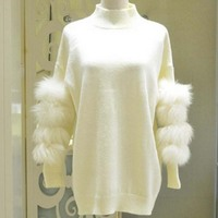 Winter Women knit Sweater Faux Fur in sleeve Oversized Turtleneck Pullover Sweater Long Sleeved Knit Jersey zipper in back