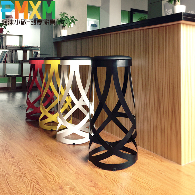 Ribbon Bar Chairs Creative Fashion Personality Stools Tall Office Chair Metal Hotel Coffee