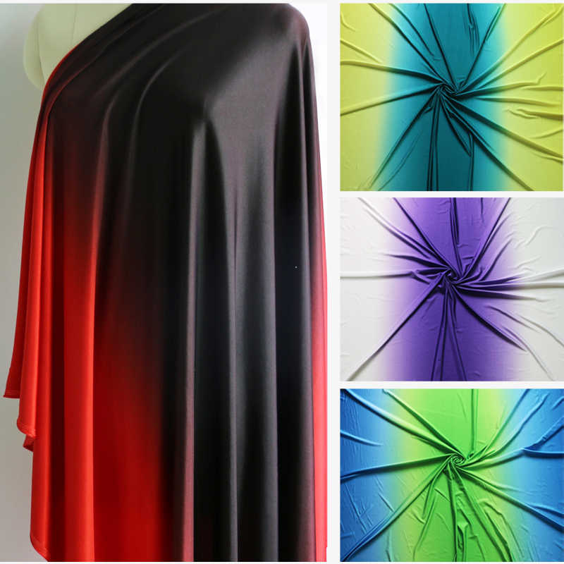 Ombre Spandex Stof Zwart Rood Dans Latin Jurk Materiaal Knit Stretch 100cm * 150cm