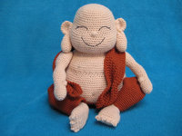 Amigurumi Laughing Buddha Happy Monk Doll Toy crochet rattle