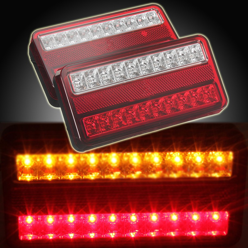 New 2x 20 LED 12V Tail Light Car Truck Trailer Stop Rear Reverse Auto Turn Indicator Lamp Back Up Led Lights Turn Signal Lamp eonstime 2pcs 12v 16 led red white truck trailer boat stop turn tail light reverse light lamp waterproof