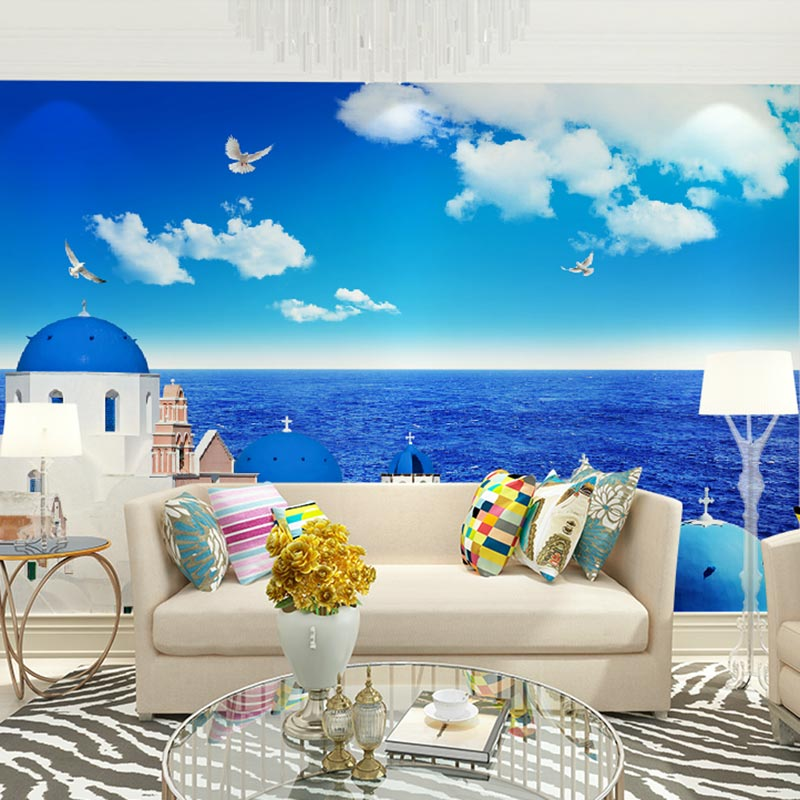 Buy custom home decor wall murals papel for Scenery wallpaper for living room