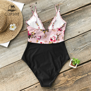 Image 2 - CUPSHE Pink Floral One Piece Swimsuit Women High Leg Cut Sexy Monokini Bathing Suits 2020 Gril Beach Bathing Suit Swimwear