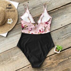 Image 2 - Cupshe maiô feminino floral rosa, roupa de banho de uma peça única para mulheres com perna alta e monoquíni sexy 2020 gril roupa de banho