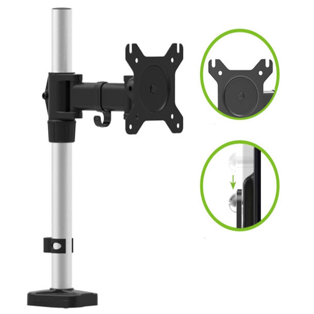 HONGHUA 13-27 Full Motion Computer Desktop Grommet LCD LED Monitor Mount Free Lifting Rotary Display Stand Rack Loading 8kgs full motion lcd monitor holder computer display mount bracket fit for w o vesa display aoe apple samsung all in one computer