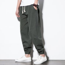 Summer Mens Sport Harem Pants Elastic Waist Male Cotton Linen Breathable Casual Loose Joggers Pant Chinese Style Long Trousers