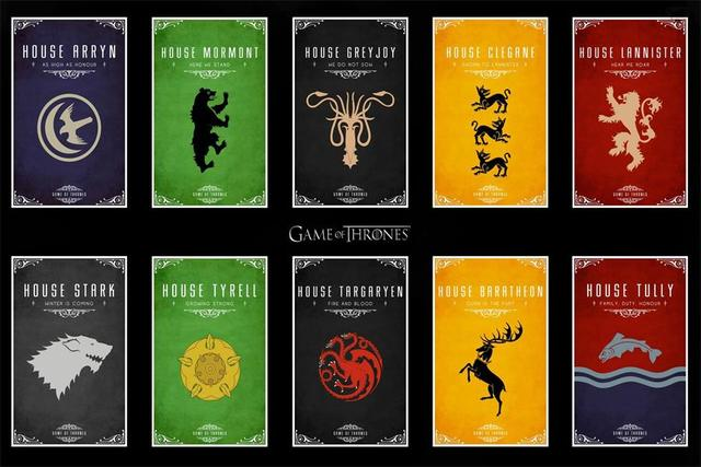Custom Canvas Wall Decor Game Of Thrones Poster Wallpaper House Badge Stickers