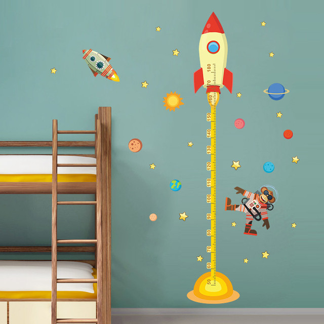 Diy Outer Space Planet Monkey Pilot Rocket Home Decal Height Measure Wall  Sticker For Kids Room Part 72