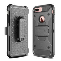 For Apple IPhone 7 Plus Steel Clamp Heavy Duty Advanced Armor Belt Clip Holster With Built