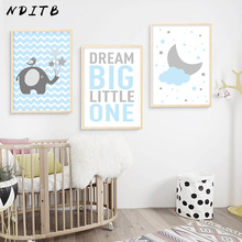 NDITB Blue Cloud Elephant Canvas Art Posters Nursery Prints Cartoon Minimalist Painting Nordic Boys Children Bedroom Decoration