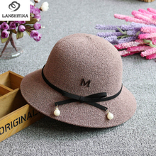 Spring Summer Women Bucket Hats with Rope Pearl Fahsion Ladies Beach Sunhat Female Fisherman Hat Cap Dome Sweet Style GH-267