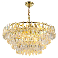 Modern Crystal Chandelier For Living Room Gold Hanging Indoor Lighting Appliances Luxury Gold Living Room LED Chandeliers