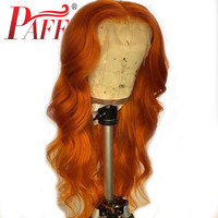 PAFF13x6 Orange Brown color Lace Front Human Hair Wigs Brazilian Body Wave Pre Plucked Bleached Knots Baby Hair