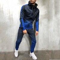 FeiTong Tracksuit Men Sports Suit Autumn Packwork Print Sweatshirt Top Pants Sets Warm Sport Suit Men Track Jacket N19