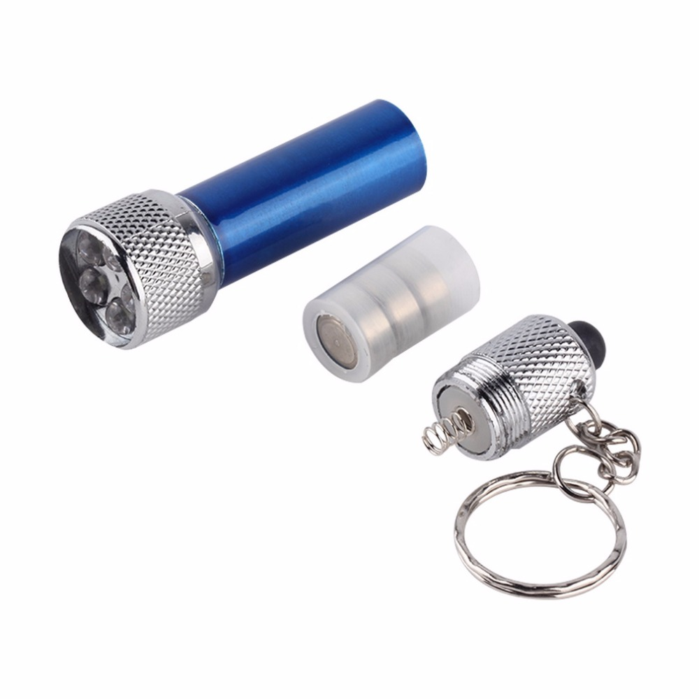 Portable LED Mini Flashlight Light Torch with 5pcs LEDs Aluminum Keychain KeyRing Chain Top Quality Waterproof Blue Flashlight