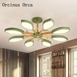 Nordyckie współczesne proste kolorowe Log żyrandol salon jadalnia sypialnia post-nowoczesny kreatywny żyrandol LED liści