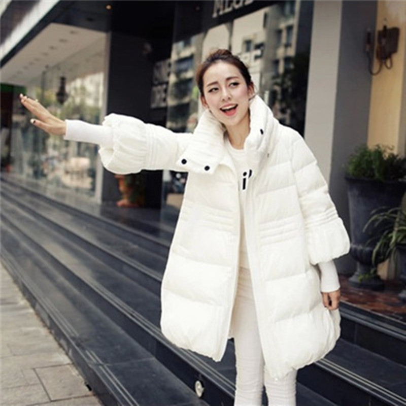 ФОТО Top Quality Maternity Long Jacket 90% White Duck Down Coat Winter Mother Cotton-padded Loose Clothing Thickening White Black Red