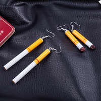 IMucci 1pair Fashion Korean Long Earrings Retro Funny Personality Realistic Cigarette Butt Earrings Temperament Earrings Jewelry