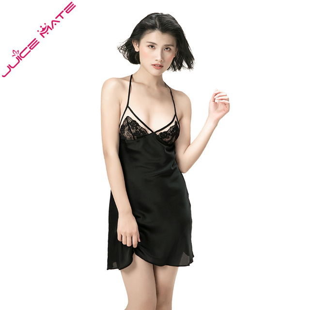 27c07fd8c1 Women Silk Satin Nightgowns Sexy Lingerie Sleepwear Lace Bra Full Slips  Night Dresses Sexy Nightdress Satin Nightgowns for Women