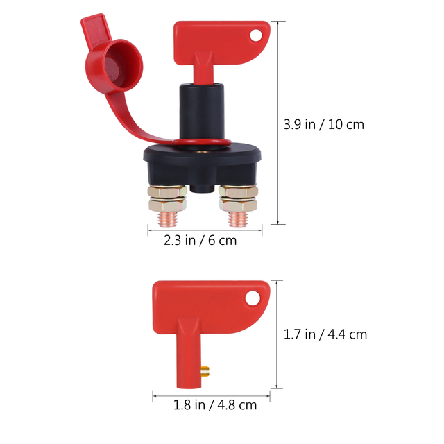 Truck Boat Car Battery Disconnect Switch Power Isolator Cut Off Kill Switch + 2 Removable Keys For Marine ATV Car Accessories