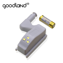 Goodland LED Night Light Automatic Sensor Light Wardrobe Cabinet Light Inner Hinge Lamp With Battery For Cupboard Closet Kitchen