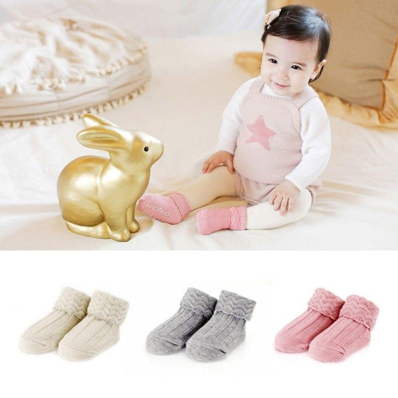 bbce19c13 Primavera otoño niños y niñas acogedor calcetines retro ondulado oscuro  patrón de color sólido Calcetines antideslizantes para 0-4Year