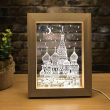 Creative Light LED Photo Frame Wooden Table Lamp Home 3D Night Crafts Ornaments Souvenir USB Interface 15.8*20*2cm