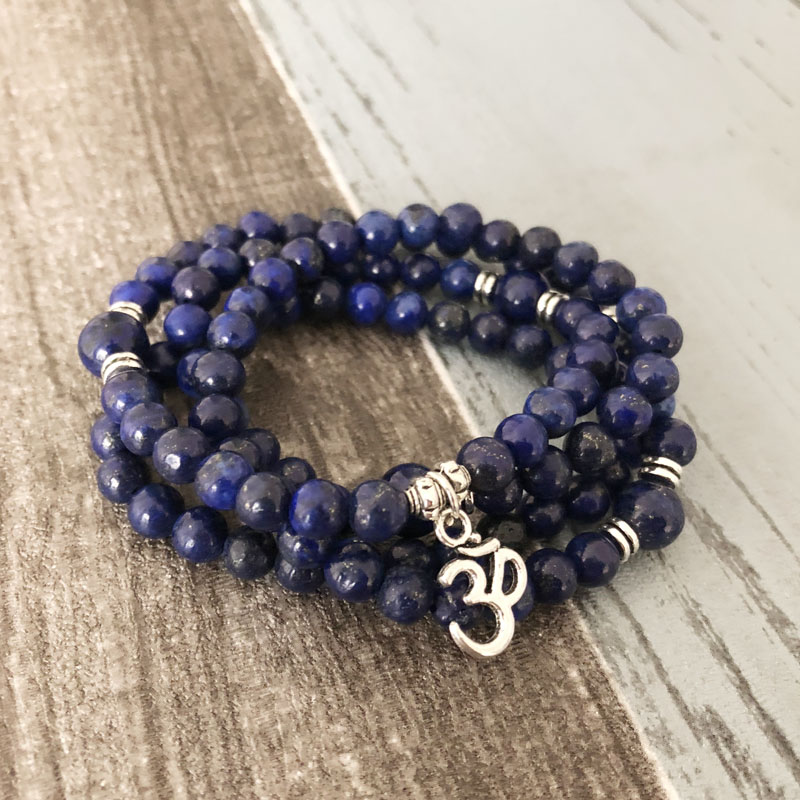 Браслет ручной работы, ювелирное изделие, лазурит 108 мала,  ожерелье и браслет, медитация, драгоценный камень, молитва, бусы,  браслетwrap braceletbead braceletprayer beads bracelet