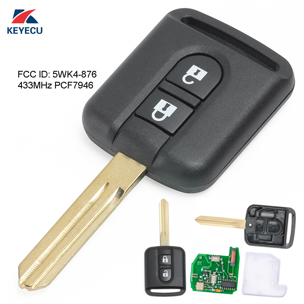 KEYECU 2X Replacement Remote Car Key Fob 2 Button 433MHz PCF7946 For Nissan Cabster Micra K12 Patrol 2006-2010 FCC ID: 5WK4-876