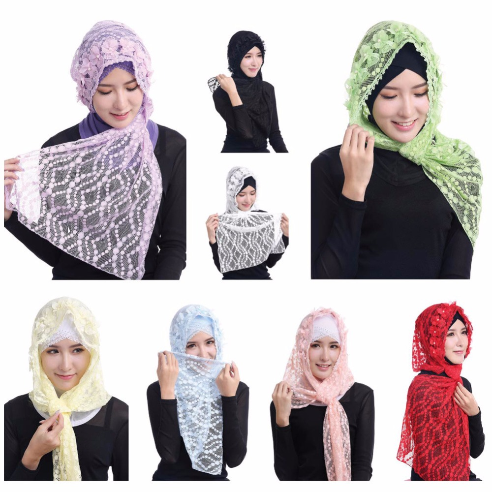 2017 Muslim Women Scarf New Lace Arab Convenient Fashion