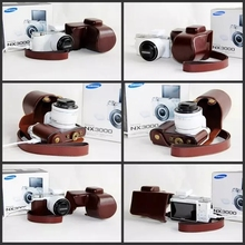 Black Brown PU Leather Camera Bag Case with strap For Samsung NX3000 20-50mm camera bag