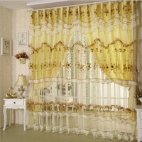 Embroidered Wedding Lace Curtains Finished Customization Princess For Living Room Bedroom Lace Curtain