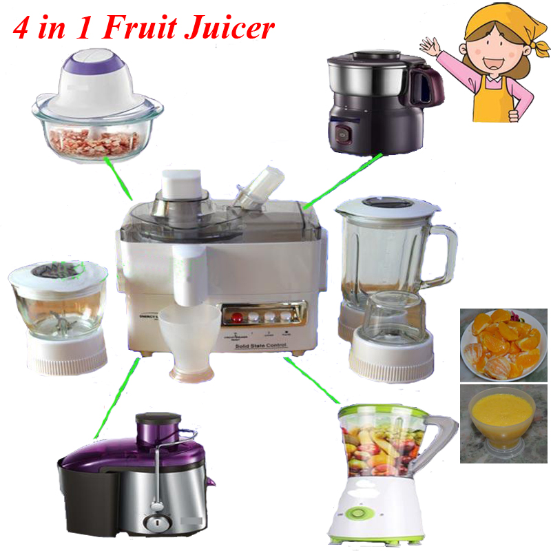 Electric Household Fruit Juicer Machine 4 in 1 Multi-function Dry and Wet Blender Machine Baby Juice Extractor/ Juicer ES-176 glantop 2l smoothie blender fruit juice mixer juicer high performance pro commercial glthsg2029