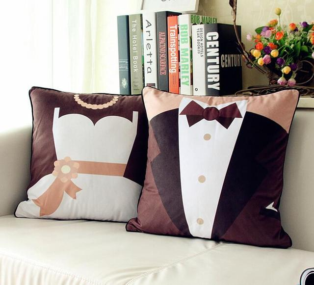45x45cm Wedding Velvet Cushion Covers Sofa Waist Pillow Case Decorative Wife And Husband Cover