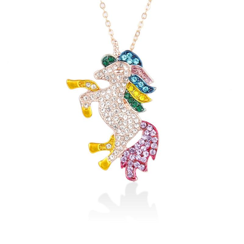 Милое ожерелье с единорогами, модные украшения в виде лошади из мультфильма, аксессуары для девочек, детские, женские вечерние браслеты с подвеской в виде животного - Окраска металла: Gold wt Gold Feet