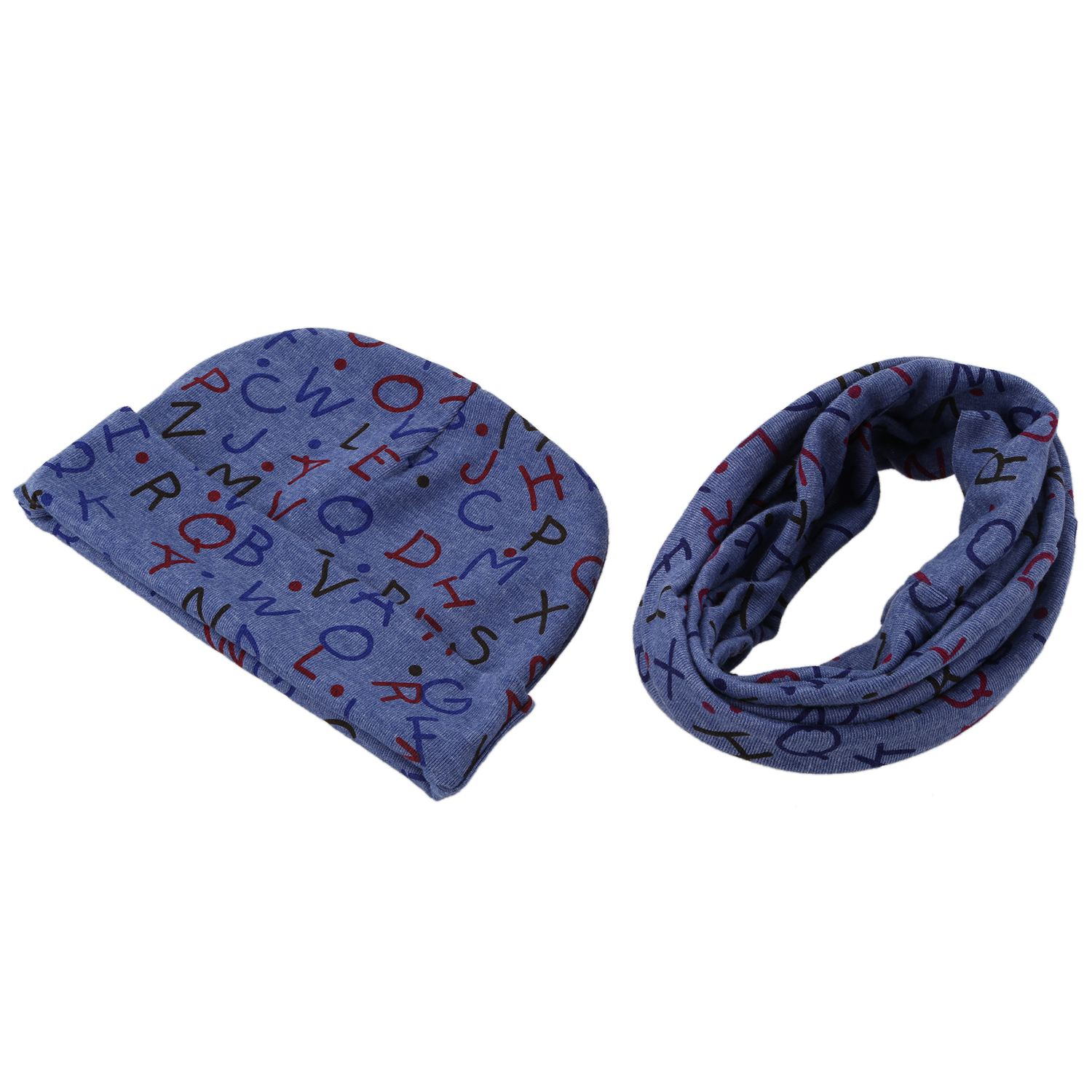Baby Hat and Scarf Set, Beanie Hat with Snood Scarf Neck Warmer for Infant Kids blue