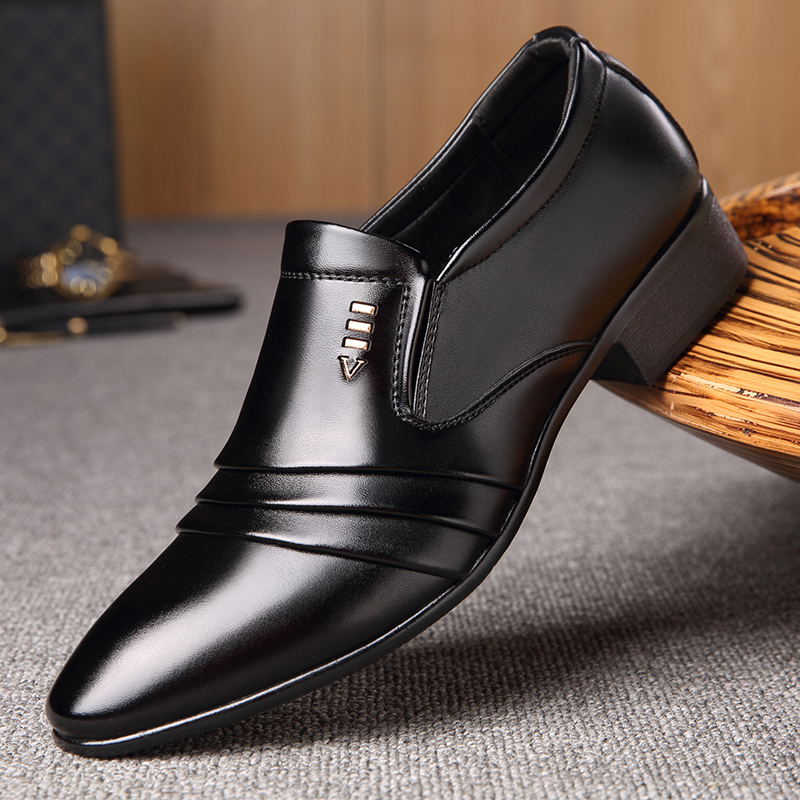 OSCO Oxford Shoes For Men Leather Formal Shoes Slip On Men Pointed Toe Office Dress Shoes Wedding Male Zapatos Hombre