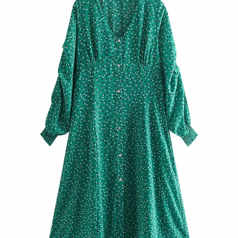 BB65-9277 European and American Fashion Front-row Bubble Sleeve V-neck Dress