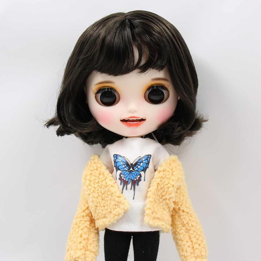 1/6 bjd завод blyth кукла короткие черные волосы, новое матовое лицо с зубами, белая кожа сустава тела 30 см BL950